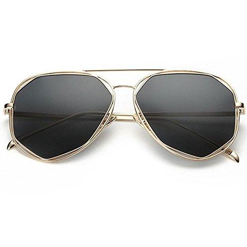 YANKAN Sonnenbrille Unisex TAC Lens Metallrahmen Polygonal Hollow Polarized Lenses Für Reisen im Freien oder Stadtbummel, Silber/grau