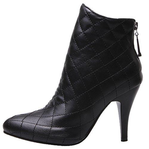 ENMAYER Femmes Ladies PU Matériel Sexy Pointe Toe Stiletto High Heel Zip Bottines Noir
