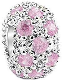 Everbling Tourmaline rose et zircone cubique Argent Sterling 925 pour Bracelets de type Pandora avec Bracelets européens