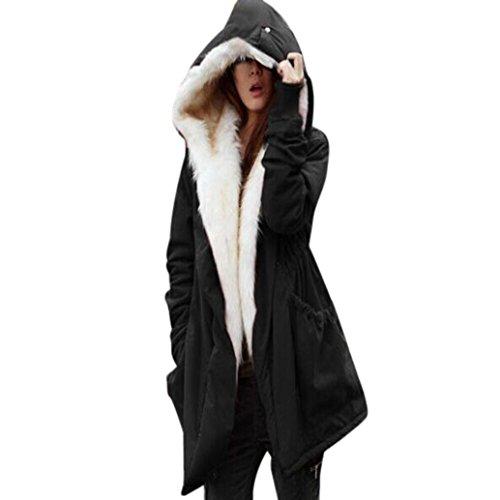 OverDose Frauen Winter Warm Thick Fleece Faux Pelz Mantel Jacke Parka Steppjacke Kapuze Jacke Outwear (S, Black)