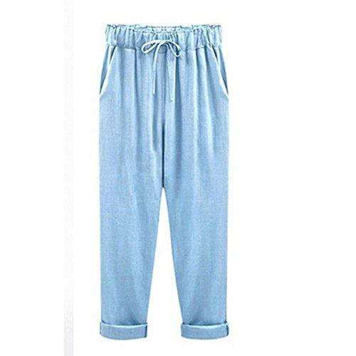 YWLINK Damen Kleidung,Mode Plus GrößE BeiläUfige Frauen Baumwolle Leinen Hosen Elastische Taille Einfarbig Sommer DüNne Dame Hosen