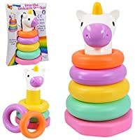 Una The Unicorn Baby Stacking Rings Stack Nesting Sorting Baby Toy Colourful Rainbow Toy Fun Activity Game