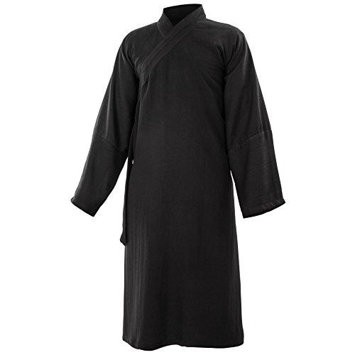wu designs Baumwolle (Leicht) Kung Fu & Tai Chi Shirt Diagonaler Kragen Langarm Knielang - Taiji Anzug Schwarz 165