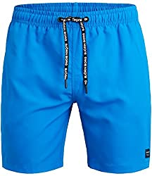 BJ-RN Borg Mens Solid Swim Trunk, Electric Blue Lemonade, Large