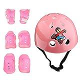 MagiDeal Kinder Schutzset (Knie Ellenbogen Handgelenk Schützer und Sporthelm - 7er Set) Kinder Protektoren Set für Fahrrad Rollschuhe Skateboard Rollerskates Inliner Sport - Rosa