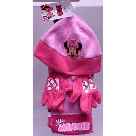 Disney Minnie Ratón: invierno forro polar de lana gorro, bufanda y guantes Set–tamaño 54–rosa