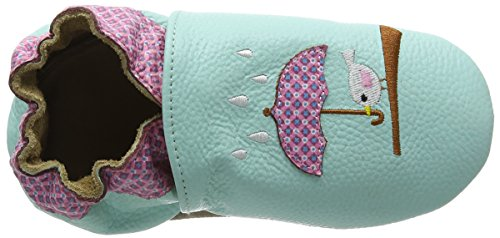 Rose & Chocolat Birdy Umbrella Aqua Marine, Chaussons premiers pas bébé fille Bleu - Blau (Aqua Marine)