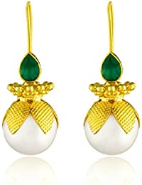 Ahilya Jewels Dakshin collection .925 Sterling Silver Gold Plated Hanging Earrings