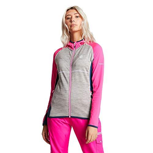 Dare 2b Damen Courteous Core Stretch Lightweight Quick Drying Full Zip Hooded Fleece Dehnbare Mittelschicht, Cyber Pink/Ash, 18 Ash Fleece