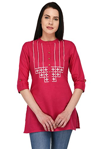 Pistaa women's Embroidered Cotton Short Top Kurti with Plus size (Rani Pink,...