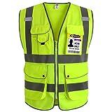 """JKSafety 9 poches de classe 2""""gilet de sécurité haute visibilité devant avec des bandes réfléchissantes, jaune répond aux normes EN ISO 20471 - Unisexe(4X-Large)..."""