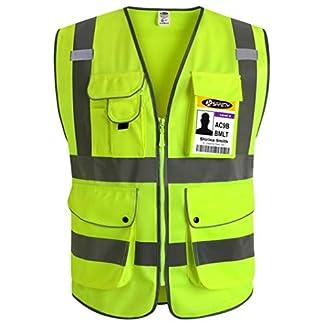 JKSafety Nueve bolsillos Nivel 2 Uniforme trabajo Chaleco con cremallera-Chaleco reflectante fluorescente-Chaleco de segurida …
