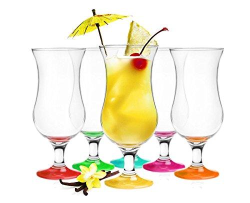 Sendez 6 Cocktailgläser Mix 480ml Hurricane Cocktailglas Longdrinkgläser Eisgläser -