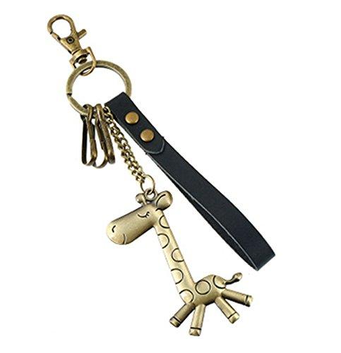 KnSam Schlüsselanhänger aus Leder und Metalllegierung Giraffe Taschenanhänger Schlüsselbund für Herren und Damen - Schwarz [Neuheit Fahrzeugschlüssel] -