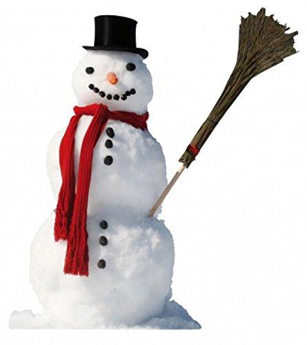 1art1 Winter - Schneemann Mit Rotem Schal Und Reisig-Besen Wand-Tattoo Aufkleber Poster-Sticker 70 x 42 cm