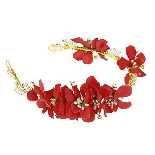 Generic Haarband Blumen Kranz Blüten Geflochten Haarschmuck Stirnband Haarreif Tiara - Rot