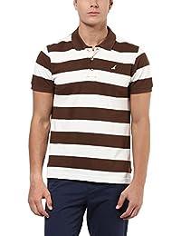 AMERICAN CREW Men's Polo Stripes T-Shirt (Brown & White)