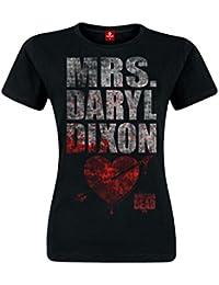 Camiseta de chica de Walking Dead Mrs. Dixon color negro de algodón