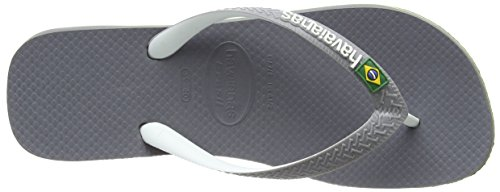 Havaianas Brasil Mix, Sandales Bout Ouvert Mixte Adulte Gris (steel Grey/white/white 6820)