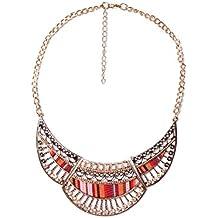 VENCA Collar tipo gargantilla con cadena y piezas de metal grabado con strass y piezas textiles by VencaStyle