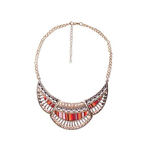 VENCA Halskette mit beweglichen Strassteilen und Textilapplikationen - 014945,WEISS-BEDRUCKT,UNICA