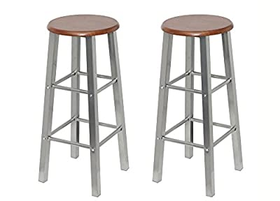 Bar stool wood and metal (set of 2) - cheap UK bar stool shop.