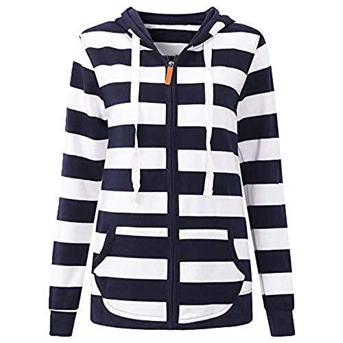 HCFKJ Strickjacke, Mode-Frauen-Lange Hülsen-gestreifte Taschen-mit Kapuze Reißverschluss-beiläufiger Sport-Mantel