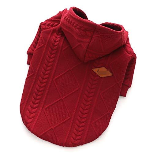 PET-Kleidung, Pullover-Cover, Zwillinge gefärbte Jacquard-Pullover, rot und Rosa beige,red,M