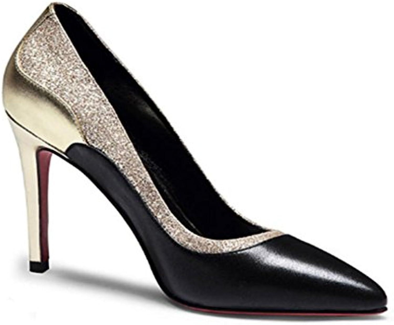 MHGAO New appuntito moda scarpe in pelle scarpe con tacco sandali, 2, 7.5 | Nuovo mercato  | Scolaro/Ragazze Scarpa