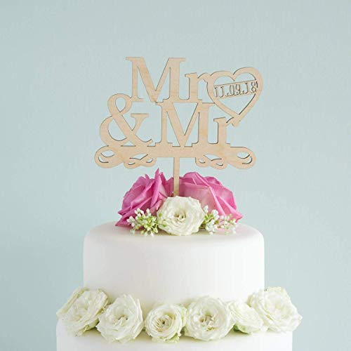 Personalised Mr and Mr wedding cake topper. Civil partnership union cake decoration. LGBTQ