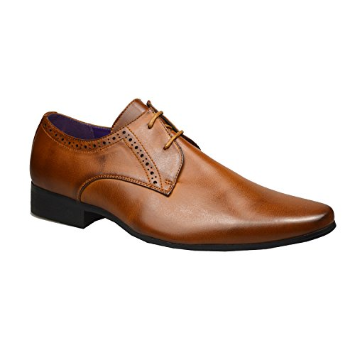 Mens Fashion New Black Leather Shoes Formal Smart Dress UK Size 6 7 8 9 10 11 (UK 5 / EU 39, Brown 2)