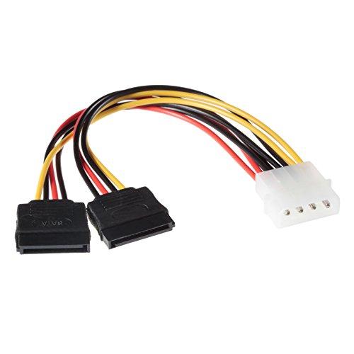 Sas-sata-festplatte (Poppstar 1x 10 cm S-ATA 3 Strom-Adapter Y-Kabel (1x 4-pin Molex Stecker auf 2x 15-pin Sata Buchse), Stromkabel Splitter für Festplatte, Motherboard, PC Case Modding uvm.)