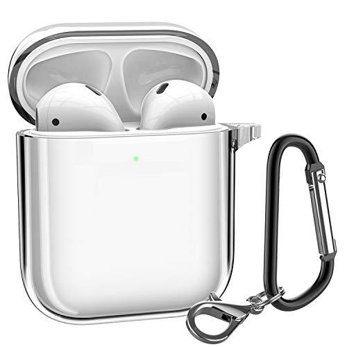 ATUMTEK AirPods Case, Glasklare Schutzhülle AirPods TPU Cover Kompatibel mit Apple AirPods 1/2 Kabellose Ladehülle mit Karabinerhaken/Schlüsselanhänger [Front LED Sichtbar] [Stoßfest] - Transparent Schutzhülle Case