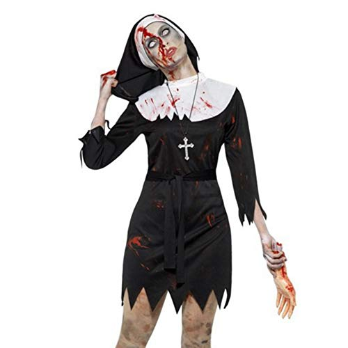 Halloween Weibliche Horror Nonne Kleid, Cosplay blutige Parodie Vampir Kostüm, Halloween Maskerade Zombie Show - Sexy Blutige Kleid Zombie Kostüm