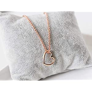 Halskette rose vergoldet Anhänger Herz rosegold farben, filigran, Geschenk