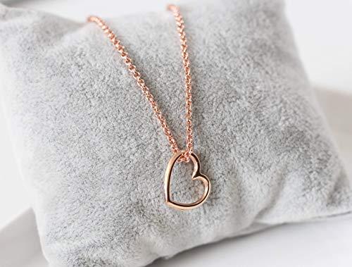 Halskette rosegold farben mit Herz Anhänger Kette modern Damen rotgoldfarben Kette kurz mit Herzanhänger Anhänger Herz Herzkette Geschenke