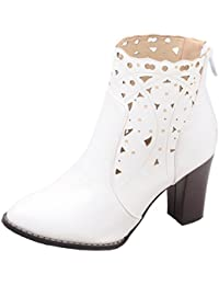 4508042513ac AIYOUMEI Damen Blockabsatz Stiefeletten mit Reißverschluss und 8cm Absatz  High Heels Ankle Boots Cutout Boots