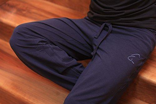 esparto Yoga Pantaloni Sitaara Uomini e donne–Stile Boyfriend–in cotone biologico blu notte