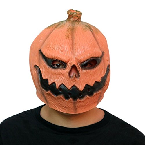 Omiky® Neue Deluxe Neuheit Halloween Scary Kostüm Party Requisiten Latex Kürbis Kopf Maske (Orange)