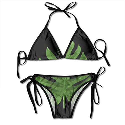 Huyotop Monstera Leaf Personalized Women Triangle Two Piece Swimsuit Bikini Sets Adjustable Drawstring Halterneck Top and Tie Sides Micro Thong Sets - Micro Tie Mit Top