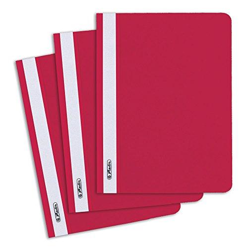 Herlitz 11256633 Schnellhefter A5 mit transparentem Vorderdeckel, 10 Stück, rot