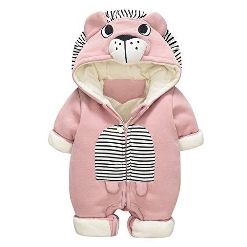Livoral Baby Winterjacke Neugeborenes Baby Baby Boy Floral Rüschen Bär Jumpsuit Jumpsuit Jumpsuit Set(Rosa,3-6 Monate)