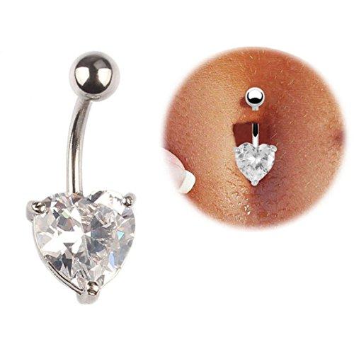 Tonsee Deaktivieren Sie chirurgische Body Piercing Schmuck Stahl Bauchnabel Belly Button Bar Ring Herz (Belly Button Strass)