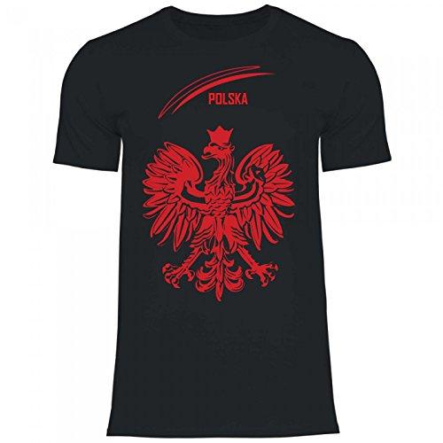 Royal Shirt df5 Herren T-Shirt Polen Poland Adler Wappen | WM Em Fußball Trikot, Größe:XL, Farbe:Black