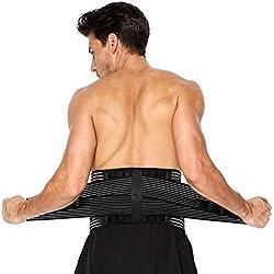 Rückenbandage Rücken Gurt für Herren und Damen, Rückengurt für Lindert Schmerzen, Rückenbandage Lendenwirbel mit Verstärkungsfedern und doppelten Einstellriemen(Groß 96-121cm)