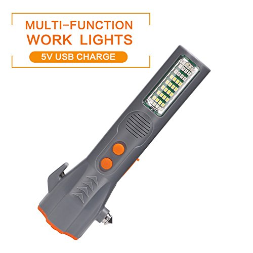 wenbest Creative LED Taschenlampe Licht Notfall Auto Escape Hammer USB Ladegerät Fenster Break Hammer Tools, grau