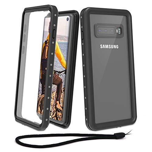 Beeasy Samsung Galaxy S10 Hülle,Wasserdicht 360 Grad Schutz Samsung S10 Schutzhülle Stoßfest Outdoor Handy Case Militärstandard mit Displayschutz Robust Schutz vor Stürzen Stößen Handyhülle,Schwarz