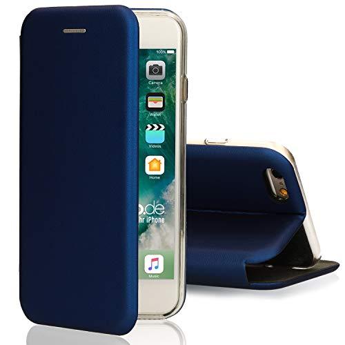 [kompatibel für iPhone 5 / 5s / SE] Flip-Case Hülle [Deluxe Leder Case] Handyhülle mit Magnetverschluss und Standfunktion Cover Blau