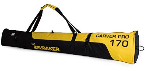 BRUBAKER Skitasche Carver Pro Limited Edition gepolsterter Skisack für 1 Paar Ski und Stöcke 170 cm Gelb Schwarz