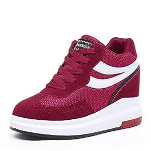 FMWLST Stiefel Herbst Stiefel Frauen 8Cm Höhe Erhöhen Warme Winter Schuhe Plattform Keil Schuhe Flache Schuhe
